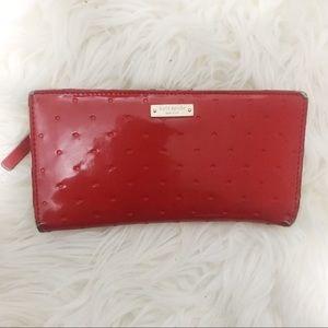 Kate Spade Wallet Red Polka Dots & Gold